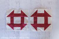 two churn dash quilt blocks