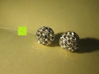 Kugeln: Numeis 1 Paar Damen Kristall Disco Shamballa Kugel 925 Sterling Silber Ohrringe Ohrstecker