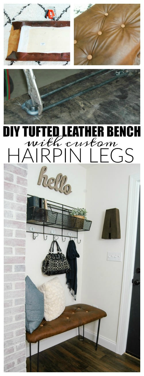 {Monthly DIY Challenge} GORGEOUS DIY tufted leather bench with custom hairpin legs! Find the full tutorial at: www.Littlehouseoffour.com