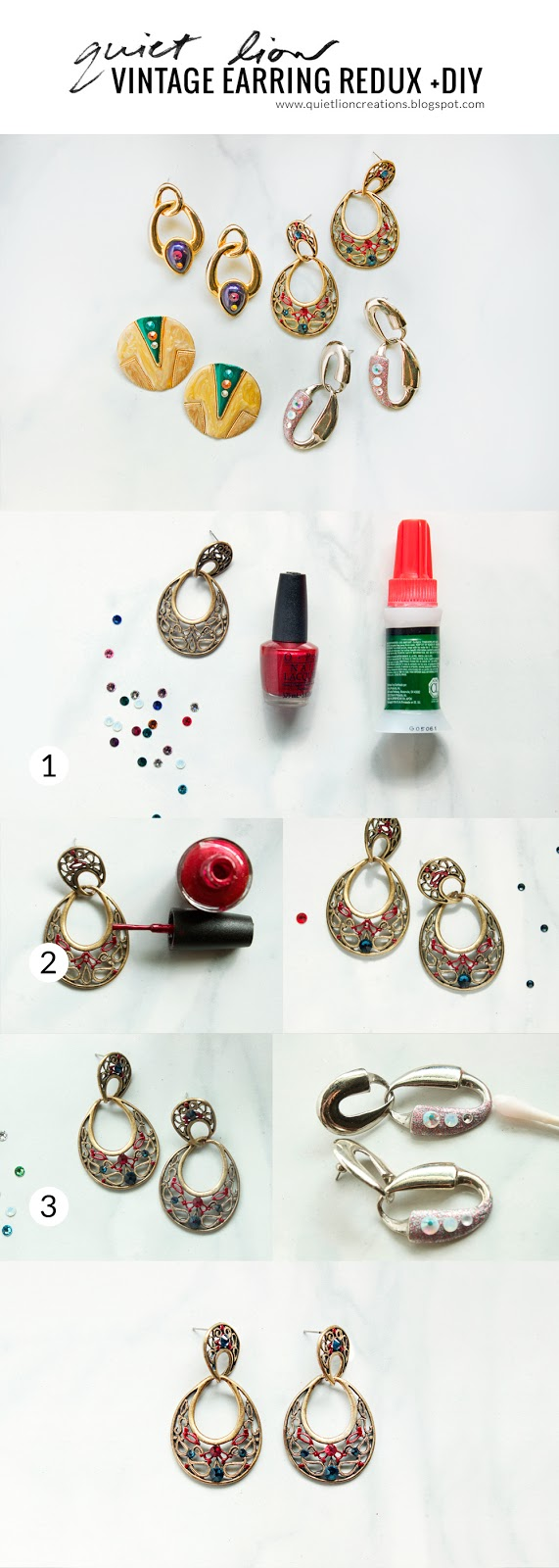 vintage earring recycling tutorial by Quiet Lion Creations. photo copyright Allison Beth Cooling.