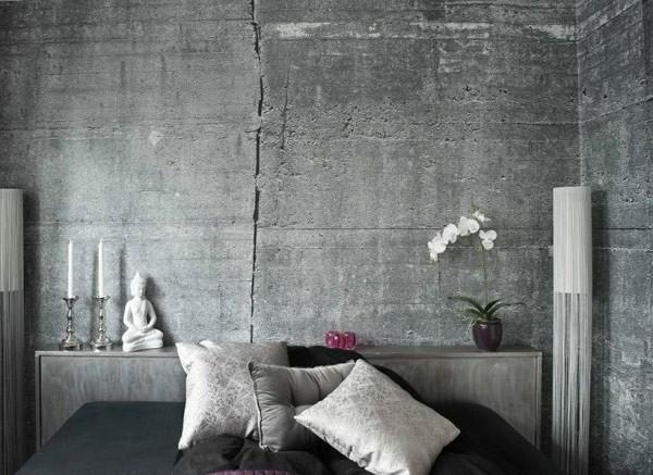 betong tapet spricka grå fototapet sovrum sovrumstapet