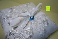 Ringe festgebunden: Hochzeit Ringkissen mit Satin Bogen 21cm* 21cm