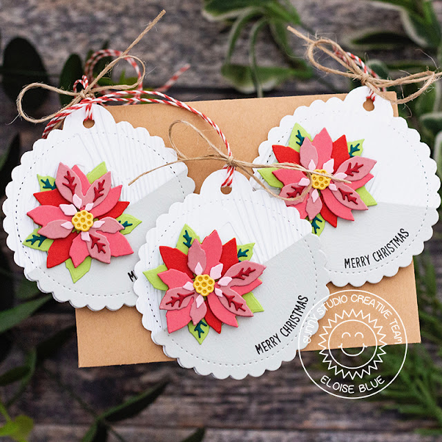 Sunny Studio Stamps: Layered Poinsettia Dies Scalloped Tag Circle Dies Merry Christmas Tags by Eloise Blue