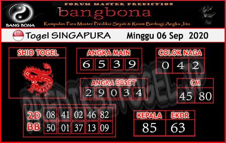 Prediksi Bangbona SGP Minggu 06 September 2020