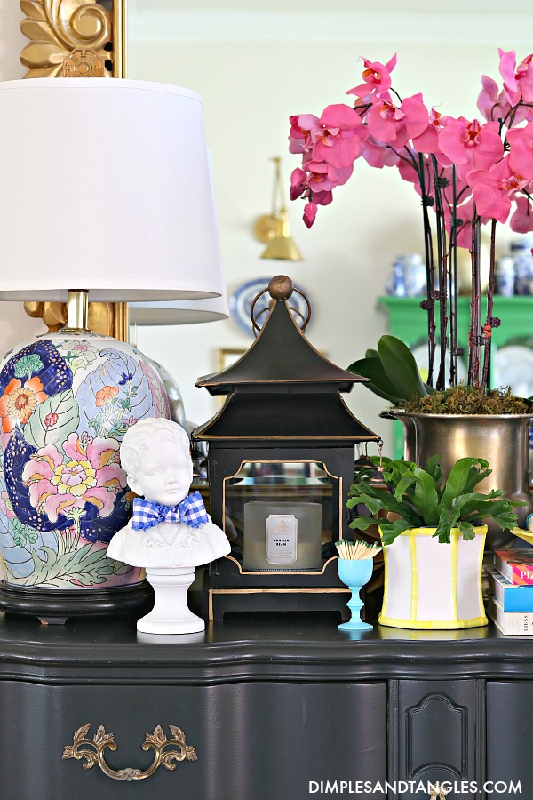 tobacco leaf lamp, pagoda lantern, blue opaline glass, hot pink orchids