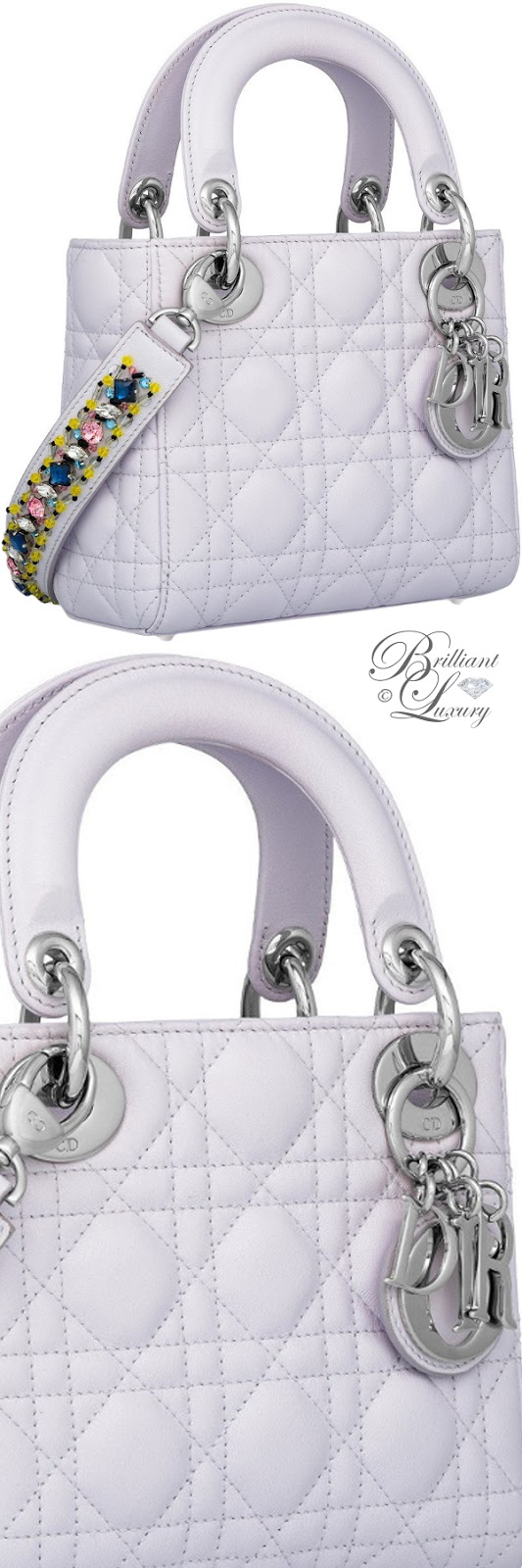 Brilliant Luxury ♦ Mini Lady Dior bag opaline white lambskin