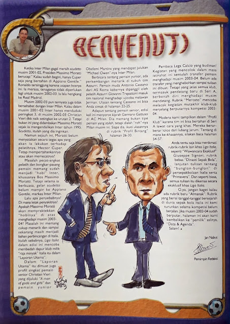 CARICATURE OF MORATTI AND HECTOR CUPER OF INTER MILAN