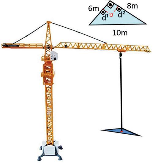 (PAES UEMA - 2021) Uma peça triangular, medindo 10m, 8m e 6m, feita de chapa uniforme, será içada por um guindaste por apenas um único ponto de contato, conforme a figura a seguir.