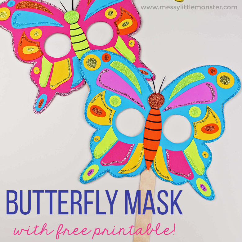 graphic relating to Printable Butterfly Template named Butterfly Mask Craft with No cost Printable Butterfly Template