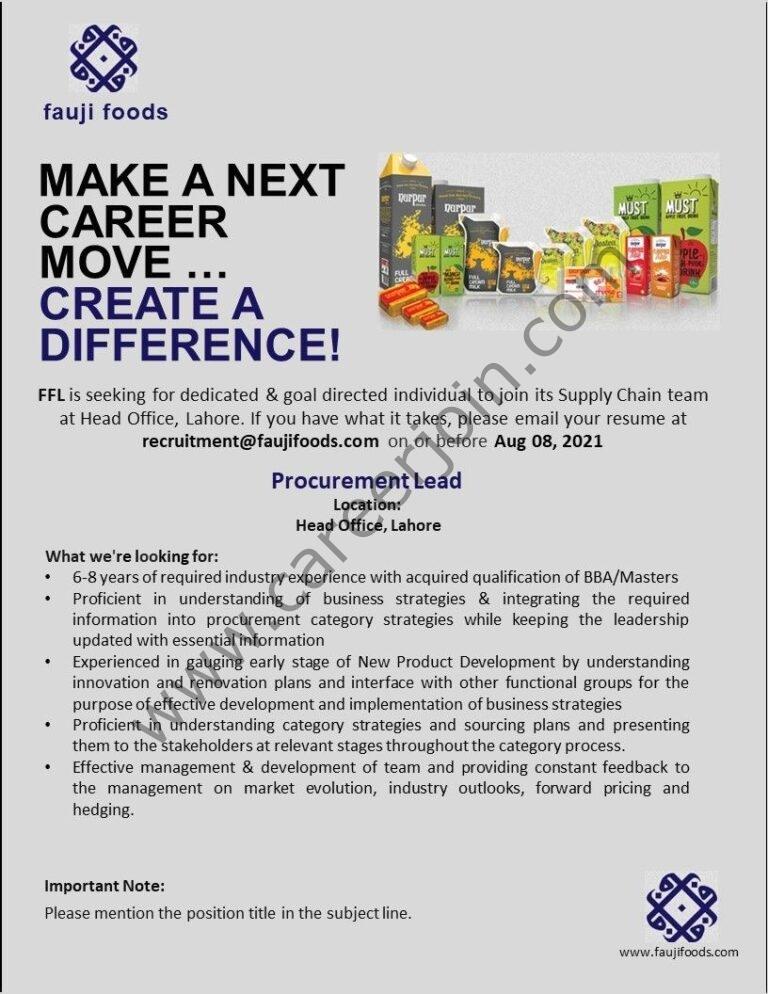 Fauji Foods Ltd Jobs Procurement Lead