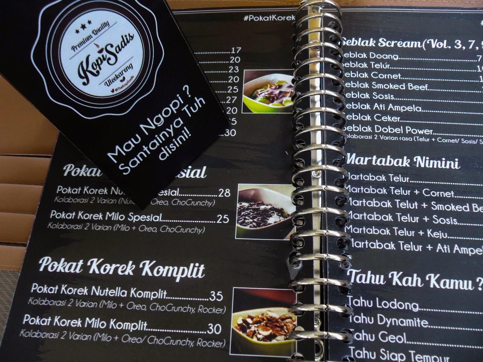 cafe sadis daftar menu