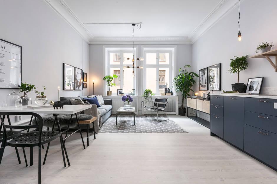 Appartamento a Stoccolma con cucina salotto in blu   ARC ART blog ...