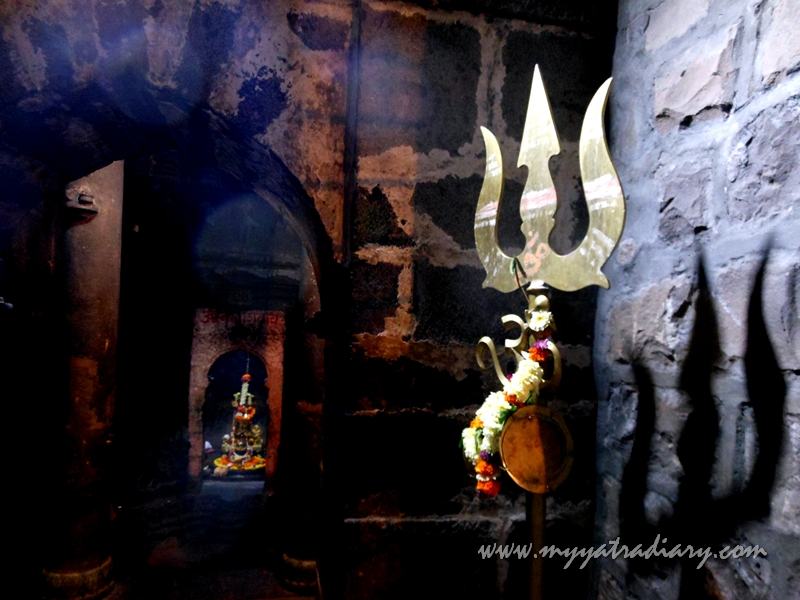 Trishul in the corridors of ancient Bhuleshwar Shiva Temple near Yavat, Pune