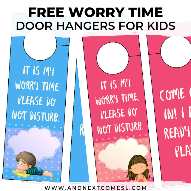 Free printable doorknob hangers template for kids to use during the worry time technique
