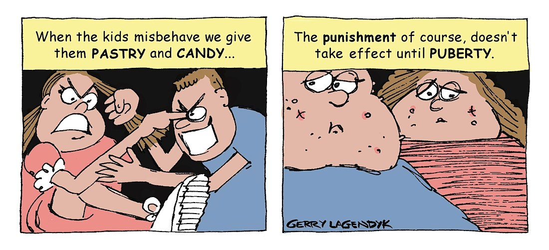 Punishment for children cartoon, Gerry Lagendyk