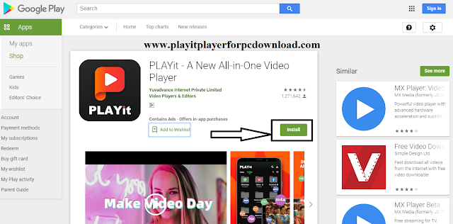 Install PLAYit on Application