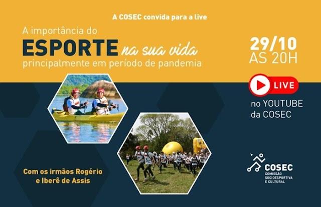"""A importância do esporte"""" será tema de live nesta quinta-feira (29/10)"""