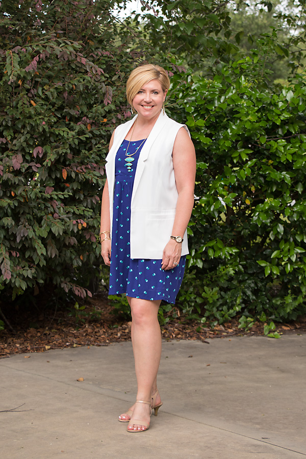how to layer in the summer, print dress, sleeveless vest