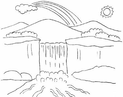 Gambar pemandangan air terjun