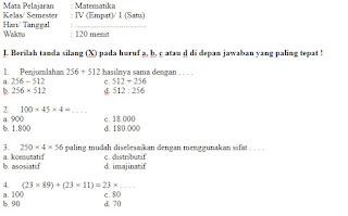 Soal-UKK-UAS-Matematika-kelas-4-Semester-1