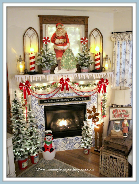 Vintage- Inspired- Cottage -Farmhouse -Christmas- Mantel-Blow Molds-Santa-Rudolph-Decor Steals-Antique Farmhouse-Raz Imports-From My Front Porch To Yours