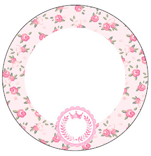 Pink Crown in Shabby Chic:  Free Printable Cupcake Toppers and Wrappers.