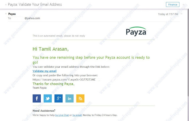 Email verification - Payza India