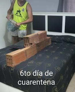 Albañil dividiendo la cama con un tabique de ladrillos