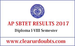 SBTET Diploma Results 2017 AP
