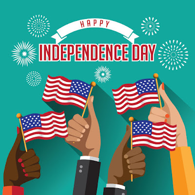 Illustrated poster of hands holding up American flags.  Text: Happy Independence Day