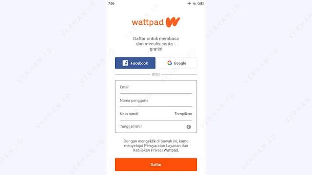 daftar wattpad di hp dengan aplikasi