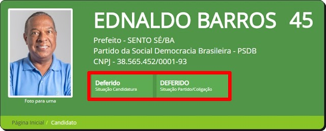 ELEIÇÕES 2020: COM LIMINAR, EDNALDO BARROS TEM SITUAÇÃO DEFERIDA PARA DISPUTAR O EXECUTIVO DE SENTO-SÉ