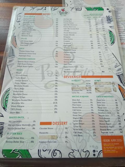 Daftar menu dan harga di Pasta Gio, Monjali, Jogja