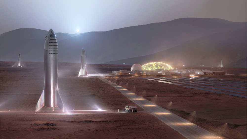 SpaceX Starship at Mars Base Alpha HD