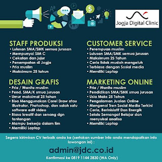 Info Lowongan Kerja staff produksi desain grafis customer service dan marketing online do Jogja  Digital Clinic Yogyakarta