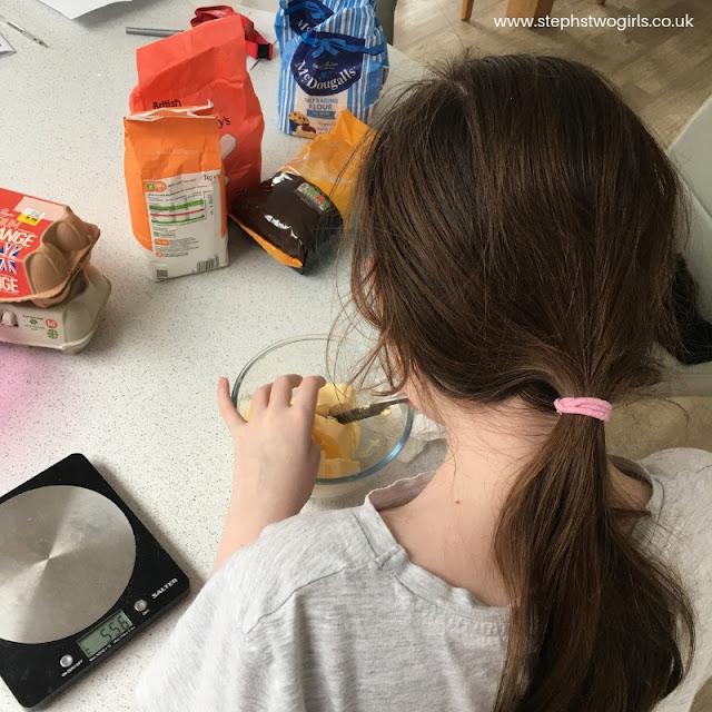 Sasha making a cake