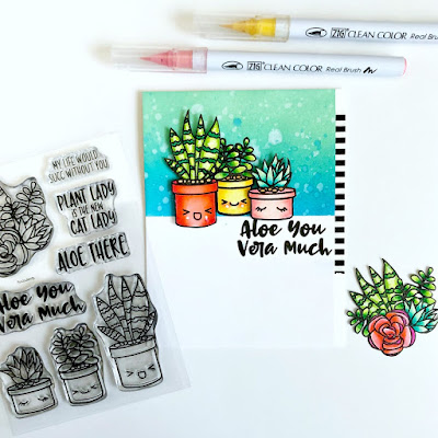 Aloe You Vera Much Card by Samantha Mann for Sweet Stamp Shop, handmade card, ink blending, succulents, #sweetstampshop #inkblending #distressoxide #cards