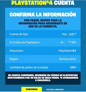 Pantalla de confirmación Código de paVos Fortnite para PS4