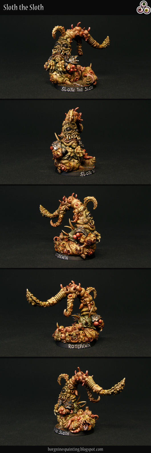 A scratchbuilt, painted miniature of a Rotspawn / Beast of Nurgle for Blood Bowl - made out of green stuff, with small conversion bits added. It has a wrinkly face with beady eyes, resembling a pug and a long tentacle sticking out from the head - everything with all matter of Nurgly boils, pustules and wounds. Its body is pale yellow, with added hues of green and red for variation. The miniature is visible from several angles.