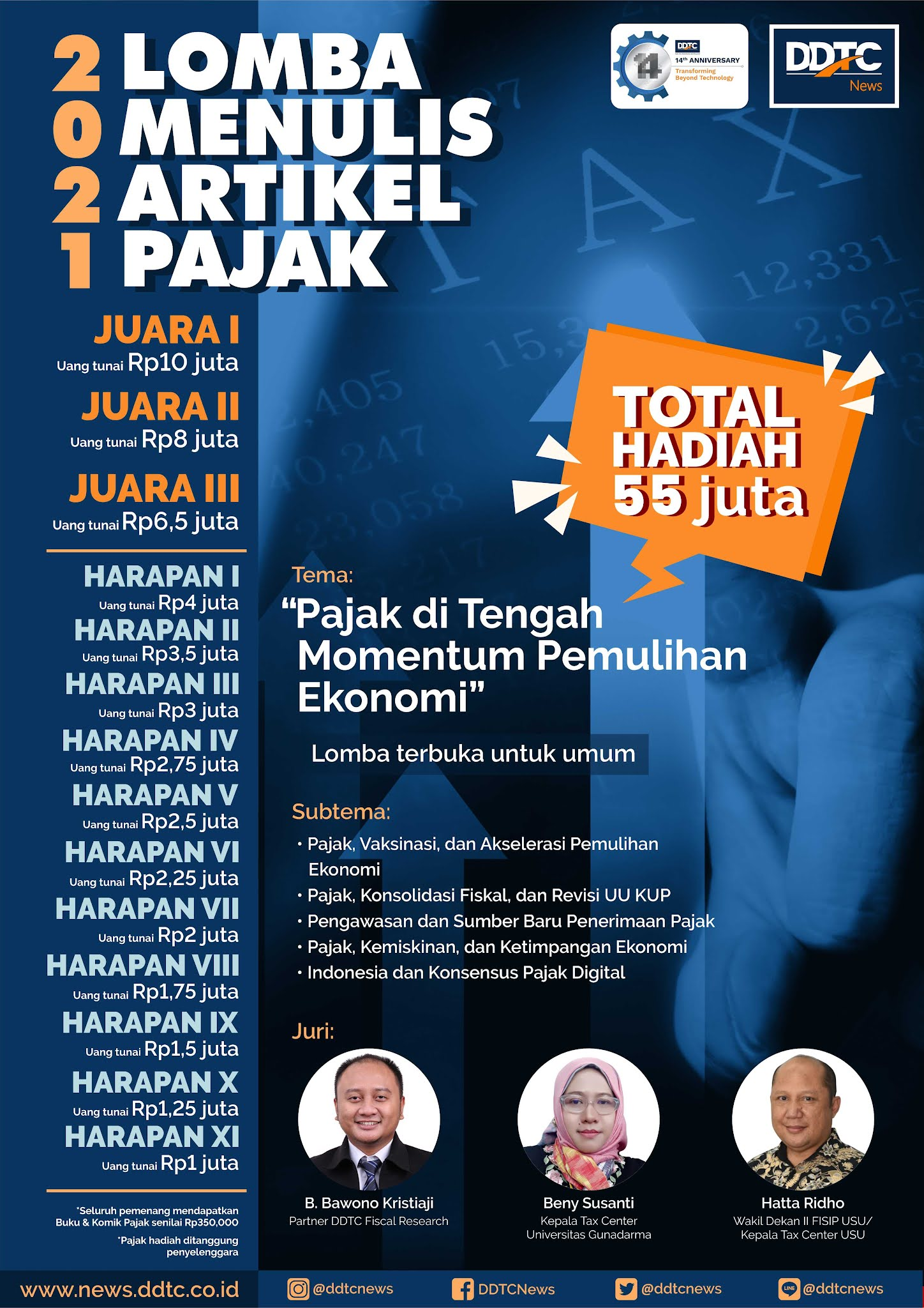 Lomba Menulis Artikel Pajak Berhadiah Total 55 Juta Rupiah oleh DDTCNews