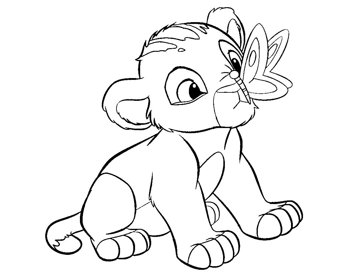 Colour Drawing Free Wallpaper: Disney Cartoon The Lion