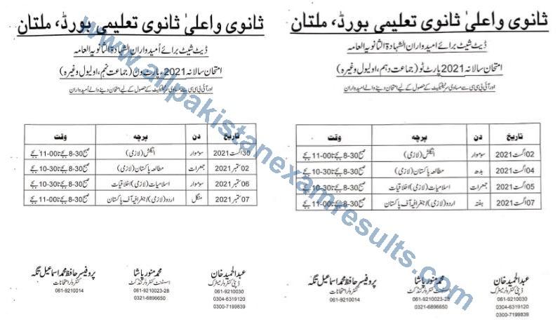 Date Sheet 2021 Exam Shahadat Al Sanvia Al Aama Multan Board