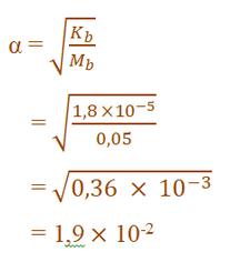 contoh pembahasn soal derajat ionisasi basa lemah