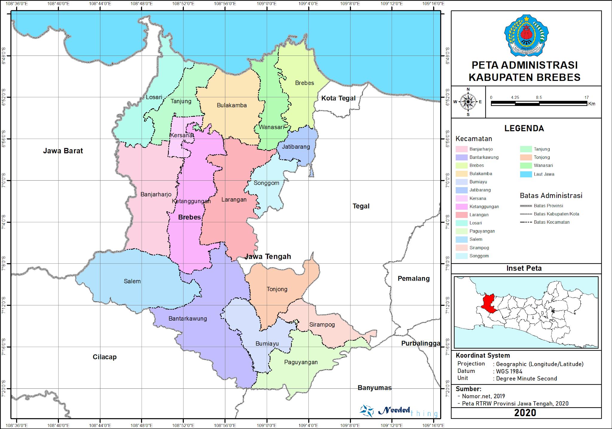 Peta Administrasi Kabupaten Brebes, Provinsi Jawa Tengah ...