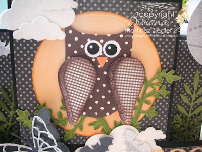 center step card for halloween owl