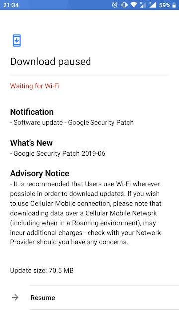 Nokia 3 receiving June 2019 Android Security update