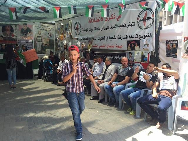 #صور.. خيمة الاعتصام في نابلس تضامنا مع الأسير بلال كايد