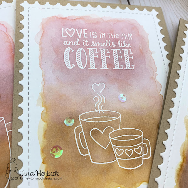 Coffee Card by Tina Herbeck | Love Café Stamp Set and Framework Die Set by Newton's Nook Designs #newtonsnook #handmade