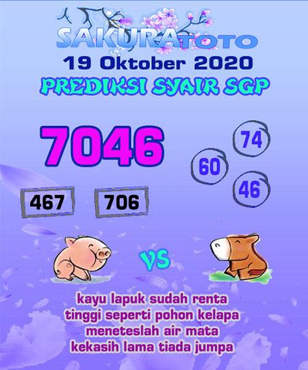Prediksi Sakuratoto SGP Senin 19 Oktober 2020
