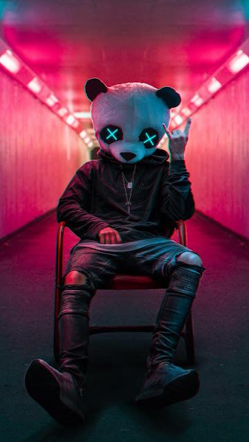 Anonimo com Máscara de Panda para Plano de Fundo